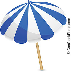 blue and white parasol - Vector illustration of blue and...