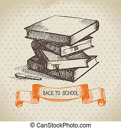 Vintage vector background with hand drawn back to school...