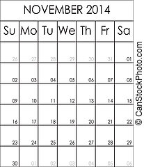 Costumizable Planner Calendar November 2014  big eps file