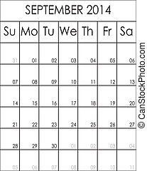 Costumizable Planner Calendar September 2014 big eps file