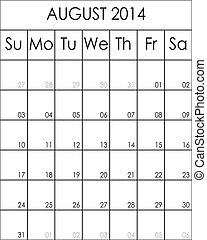 Costumizable Planner Calendar August 2014 big eps file