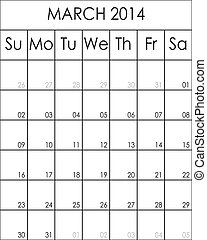 Costumizable Planner Calendar March 2014 big eps file