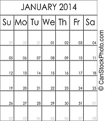 Costumizable Planner Calendar January 2014 big eps file