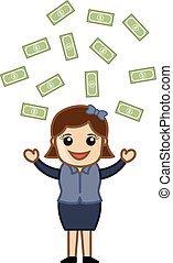 Money Rain - Vector Illustration - Drawing Art of Cartoon...