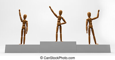 Mannequin Winners - 3D image of wooden mannequins on the...