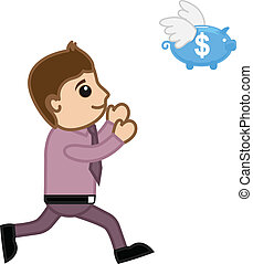 Businessman Catching Piggy Bank
