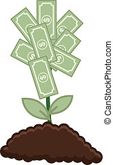 Tree of Money - Vector Illustration - Drawing Art of Cartoon...