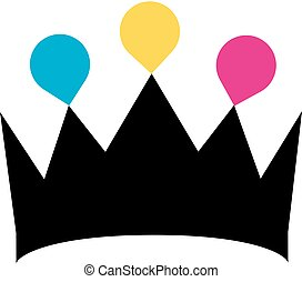 Crown with colorful droplets logo