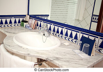 Modern bathroom with sink and mirror - Luxurious washroom...