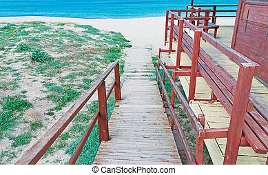 foot path - wooden foot path to the beach
