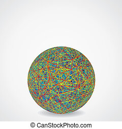 Ball of Chaotic Multicolored Cables Vector Illustration