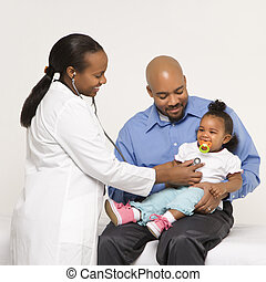 Father, child and physician - African-American female...