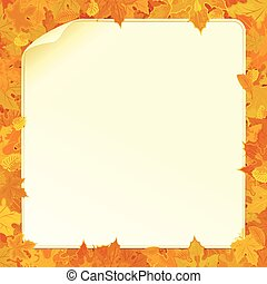 Autumn Background with Fall Leaves and Paper Sign - Vector...