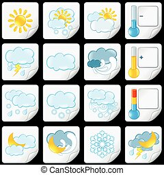 Cartoon Weather Forecast Icons. Paper Stickers