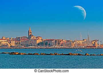 huge moon over Alghero, Sardinia