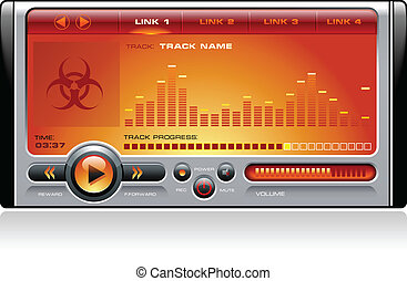 Stereo MP3 Music Media Player - Realistic Media player with...