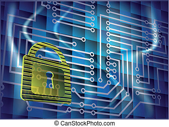 Cyber security. Abstract background with lock and scheme