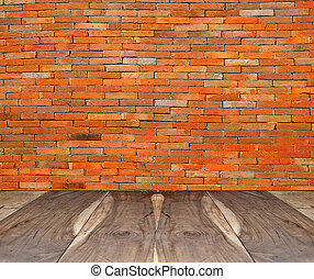 The Perspective view of old wood floor with old brickwall