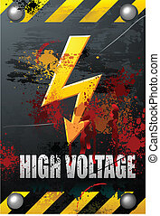 Grunge High Voltage Sign on Brushed Metal Plate with blood...