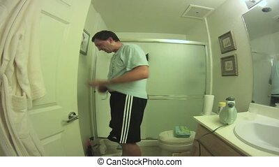 Bathroom cleaning wide angle timelapse.