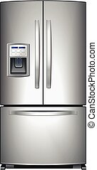 Refrigerator vector - Domestic metallic refrigerator with...