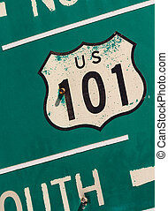 Green US 101 south highway sign