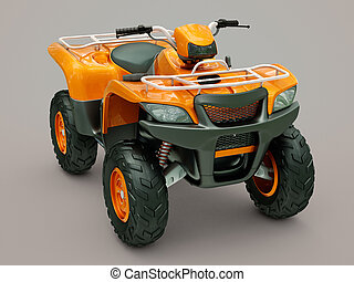 Quad bike - Sports quad bike on a grey background