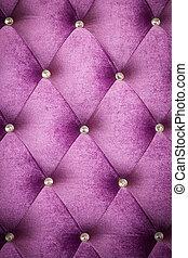 Upholstery velvet backdrop. - Purple velvet cushion is...