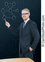 Get Connected - Man in Suit Presenting Social Network in...
