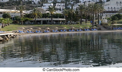 Beach on Mediterranean turkish resort, Bodrum, Turkey