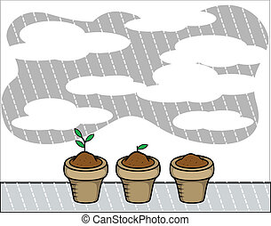 Flower Plants Pots Vector