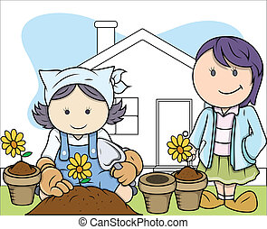 Kids Planting Plants in Garden