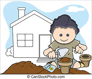 Young Gardener Planting Plant - Drawing Art of Young Happy...
