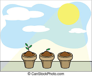 Plants and Sun Light Vector - Drawing Art of Cartoon Plants...