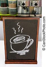 Blackboard of menu coffee in coffeeshop