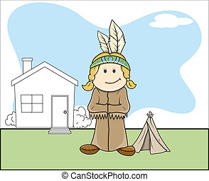 Red Indian Kid Vector