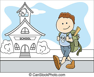 Boy Going to School - Kids Vector - Drawing Art of Cartoon...