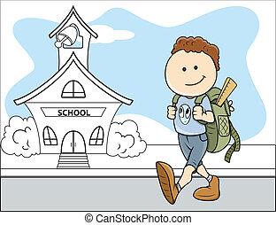 Boy Going to School - Kids Vector - Drawing Art of Cartoon...