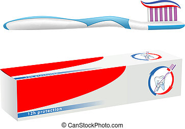 teeth hygiene - vector toothbrush and toothpaste on white...