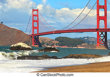 View on Golden Gate Bridge from Baker Beach - View of famous...