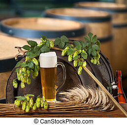 cerveza, salto, conos