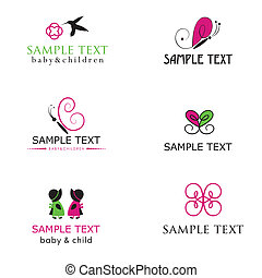Baby and children icons in bright colors