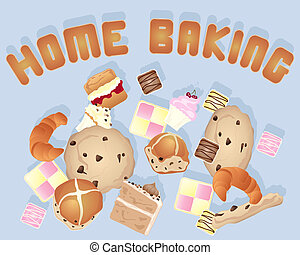 home baking - an illustration of a home baking background...