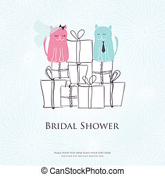 Bridal shower invitation card with two cute cats sitting on...