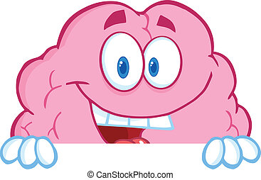 Brain Character Over A Blank Sign - Smiling Brain Cartoon...
