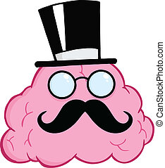 Brain Gentleman Cartoon Character - Illustration Of Brain...