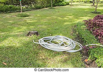 Hose to water the plants in green garden