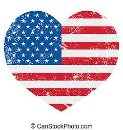 United States on America flag - USA vintage old flag heart...