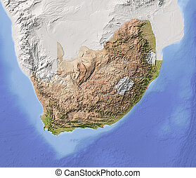 South Africa, shaded relief map - South Africa. Shaded...