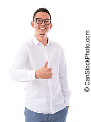 Thumb up Asian man - Thumb up middle aged Asian man isolated...
